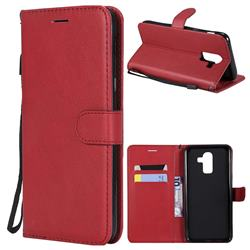 Retro Greek Classic Smooth PU Leather Wallet Phone Case for Samsung Galaxy J8 - Red
