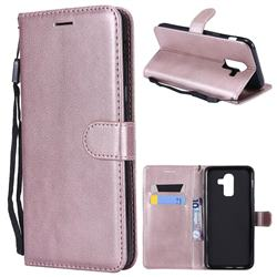 Retro Greek Classic Smooth PU Leather Wallet Phone Case for Samsung Galaxy J8 - Rose Gold