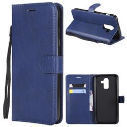 Retro Greek Classic Smooth PU Leather Wallet Phone Case for Samsung Galaxy J8 - Blue