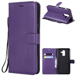 Retro Greek Classic Smooth PU Leather Wallet Phone Case for Samsung Galaxy J8 - Purple