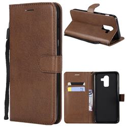 Retro Greek Classic Smooth PU Leather Wallet Phone Case for Samsung Galaxy J8 - Brown