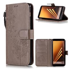 Intricate Embossing Dandelion Butterfly Leather Wallet Case for Samsung Galaxy J8 - Gray