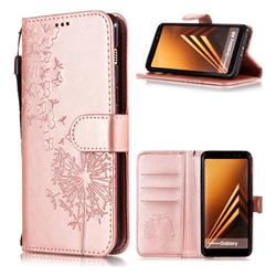Intricate Embossing Dandelion Butterfly Leather Wallet Case for Samsung Galaxy J8 - Rose Gold