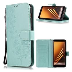 Intricate Embossing Dandelion Butterfly Leather Wallet Case for Samsung Galaxy J8 - Green
