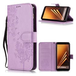 Intricate Embossing Dandelion Butterfly Leather Wallet Case for Samsung Galaxy J8 - Purple