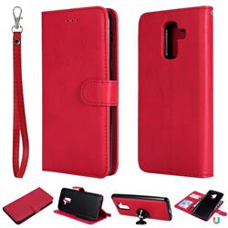 Retro Greek Detachable Magnetic PU Leather Wallet Phone Case for Samsung Galaxy J8 - Red