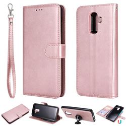 Retro Greek Detachable Magnetic PU Leather Wallet Phone Case for Samsung Galaxy J8 - Rose Gold