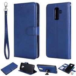 Retro Greek Detachable Magnetic PU Leather Wallet Phone Case for Samsung Galaxy J8 - Blue