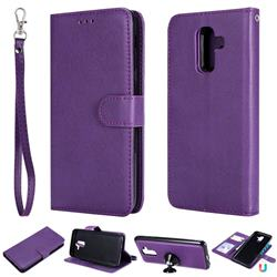 Retro Greek Detachable Magnetic PU Leather Wallet Phone Case for Samsung Galaxy J8 - Purple