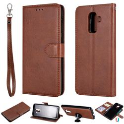 Retro Greek Detachable Magnetic PU Leather Wallet Phone Case for Samsung Galaxy J8 - Brown