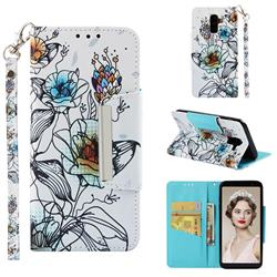 Fotus Flower Big Metal Buckle PU Leather Wallet Phone Case for Samsung Galaxy J8