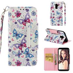 Colored Butterfly Big Metal Buckle PU Leather Wallet Phone Case for Samsung Galaxy J8