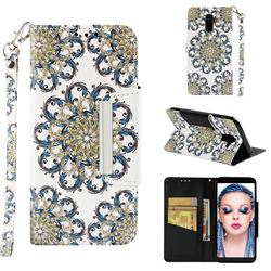 Phoenix Tail Big Metal Buckle PU Leather Wallet Phone Case for Samsung Galaxy J8