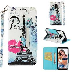 Lip Tower Big Metal Buckle PU Leather Wallet Phone Case for Samsung Galaxy J8