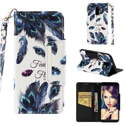 Peacock Feather Big Metal Buckle PU Leather Wallet Phone Case for Samsung Galaxy J8