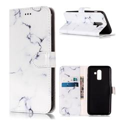 Soft White Marble PU Leather Wallet Case for Samsung Galaxy J8