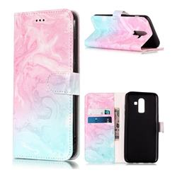 Pink Green Marble PU Leather Wallet Case for Samsung Galaxy J8