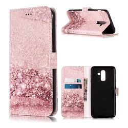 Glittering Rose Gold PU Leather Wallet Case for Samsung Galaxy J8