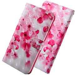 Peach Blossom 3D Painted Leather Wallet Case for Samsung Galaxy J8