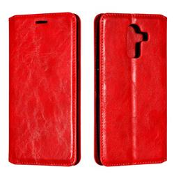 Retro Slim Magnetic Crazy Horse PU Leather Wallet Case for Samsung Galaxy J8 - Red