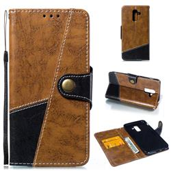 Retro Magnetic Stitching Wallet Flip Cover for Samsung Galaxy J8 - Brown