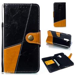 Retro Magnetic Stitching Wallet Flip Cover for Samsung Galaxy J8 - Black