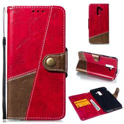 Retro Magnetic Stitching Wallet Flip Cover for Samsung Galaxy J8 - Rose Red