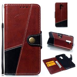 Retro Magnetic Stitching Wallet Flip Cover for Samsung Galaxy J8 - Dark Red