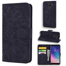 Retro Embossing Mandala Flower Leather Wallet Case for Samsung Galaxy J8 - Black