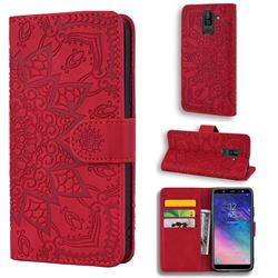 Retro Embossing Mandala Flower Leather Wallet Case for Samsung Galaxy J8 - Red