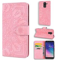 Retro Embossing Mandala Flower Leather Wallet Case for Samsung Galaxy J8 - Pink
