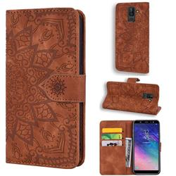 Retro Embossing Mandala Flower Leather Wallet Case for Samsung Galaxy J8 - Brown