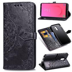 Embossing Imprint Mandala Flower Leather Wallet Case for Samsung Galaxy J8 - Black