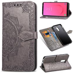 Embossing Imprint Mandala Flower Leather Wallet Case for Samsung Galaxy J8 - Gray