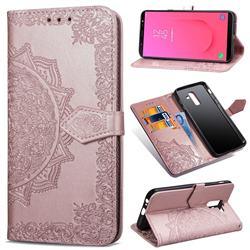 Embossing Imprint Mandala Flower Leather Wallet Case for Samsung Galaxy J8 - Rose Gold