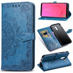 Embossing Imprint Mandala Flower Leather Wallet Case for Samsung Galaxy J8 - Blue