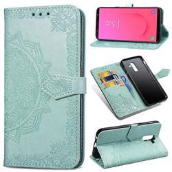 Embossing Imprint Mandala Flower Leather Wallet Case for Samsung Galaxy J8 - Green