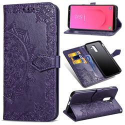 Embossing Imprint Mandala Flower Leather Wallet Case for Samsung Galaxy J8 - Purple