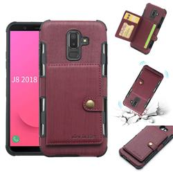 Brush Multi-function Leather Phone Case for Samsung Galaxy J8 - Wine Red