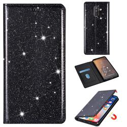 Ultra Slim Glitter Powder Magnetic Automatic Suction Leather Wallet Case for Samsung Galaxy J8 - Black