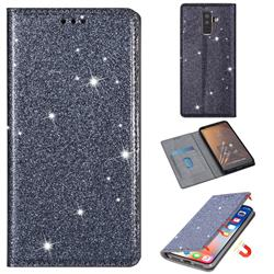 Ultra Slim Glitter Powder Magnetic Automatic Suction Leather Wallet Case for Samsung Galaxy J8 - Gray
