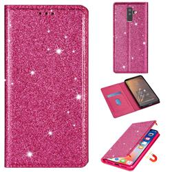 Ultra Slim Glitter Powder Magnetic Automatic Suction Leather Wallet Case for Samsung Galaxy J8 - Rose Red
