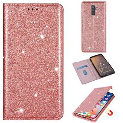 Ultra Slim Glitter Powder Magnetic Automatic Suction Leather Wallet Case for Samsung Galaxy J8 - Rose Gold