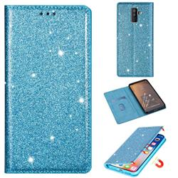 Ultra Slim Glitter Powder Magnetic Automatic Suction Leather Wallet Case for Samsung Galaxy J8 - Blue