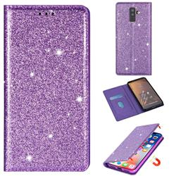 Ultra Slim Glitter Powder Magnetic Automatic Suction Leather Wallet Case for Samsung Galaxy J8 - Purple
