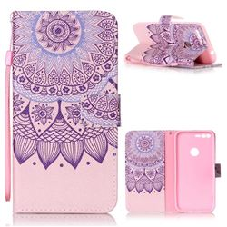 Purple Sunflower Leather Wallet Phone Case for Google Pixel