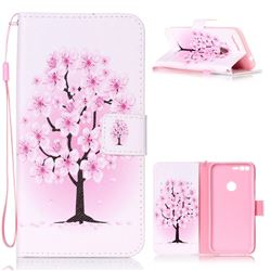 Peach Flower Leather Wallet Phone Case for Google Pixel