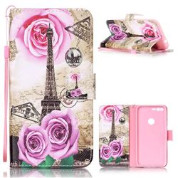 Rose Eiffel Tower Leather Wallet Phone Case for Google Pixel