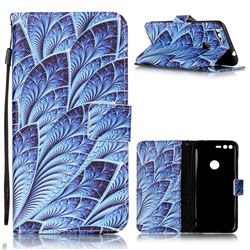 Blue Feather Leather Wallet Phone Case for Google Pixel