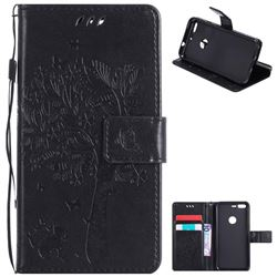 Embossing Butterfly Tree Leather Wallet Case for Google Pixel - Black